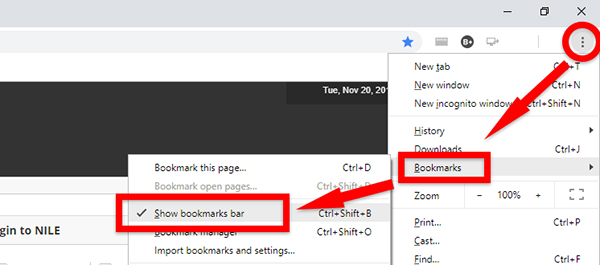 Check that your Bookmarks bar is visible