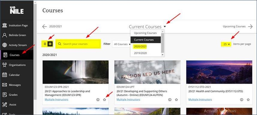 How to more find your Course on NILE more easily