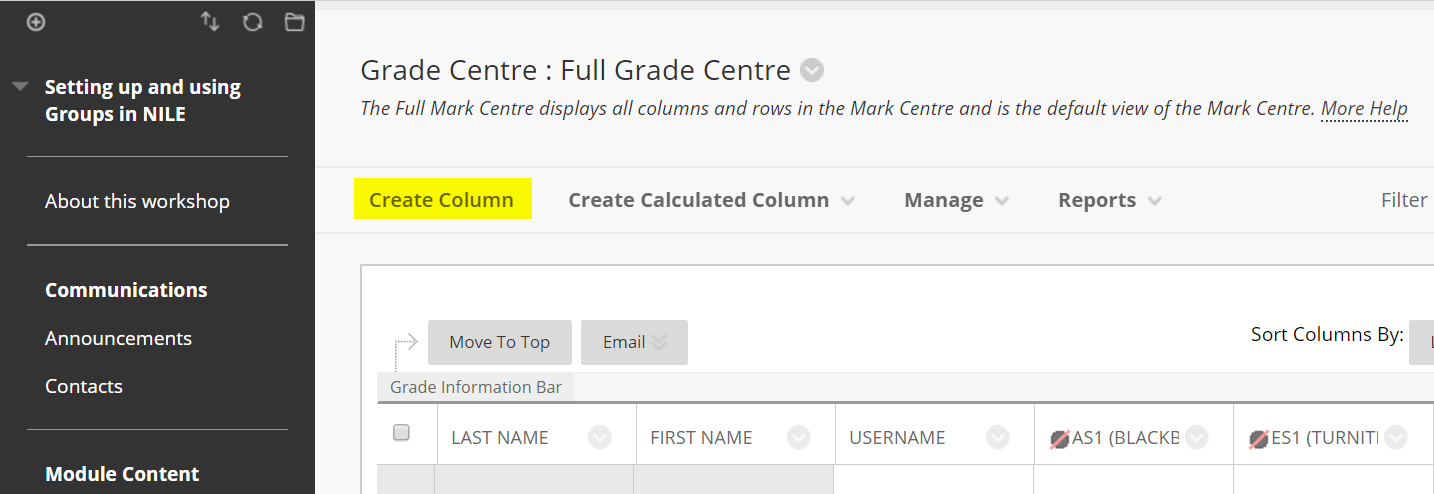 create column in the grade cetnre