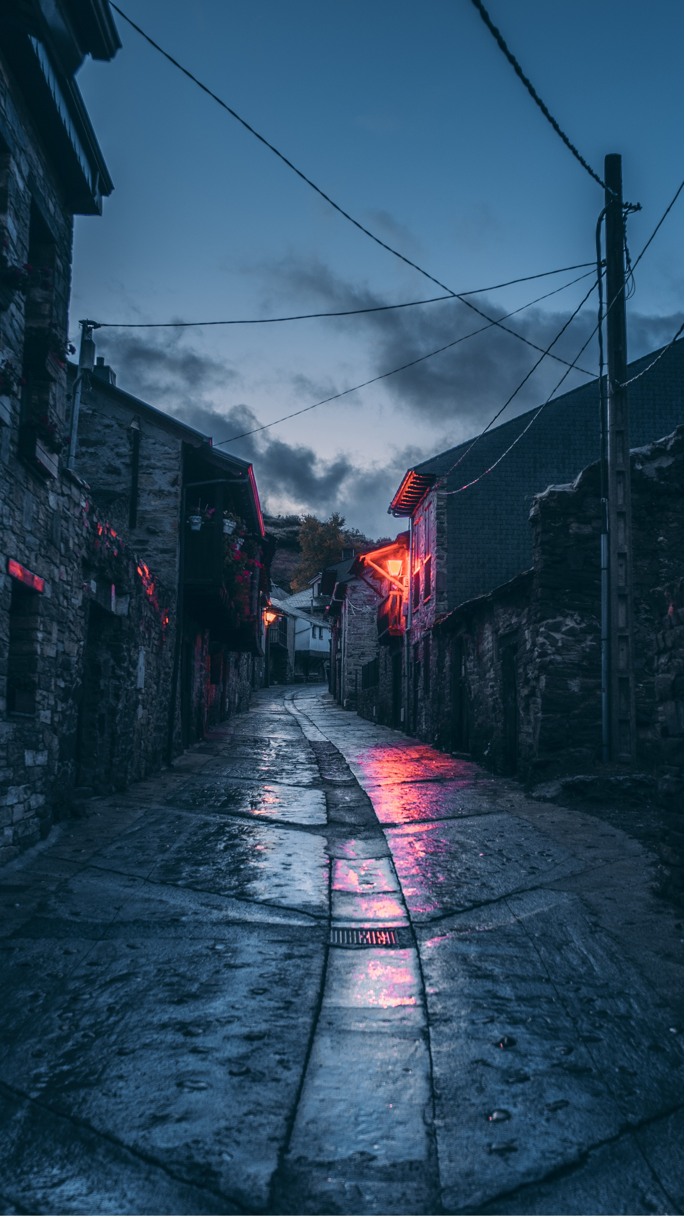 Long alley, wet paving slabs reflecting eerie blue and red lights