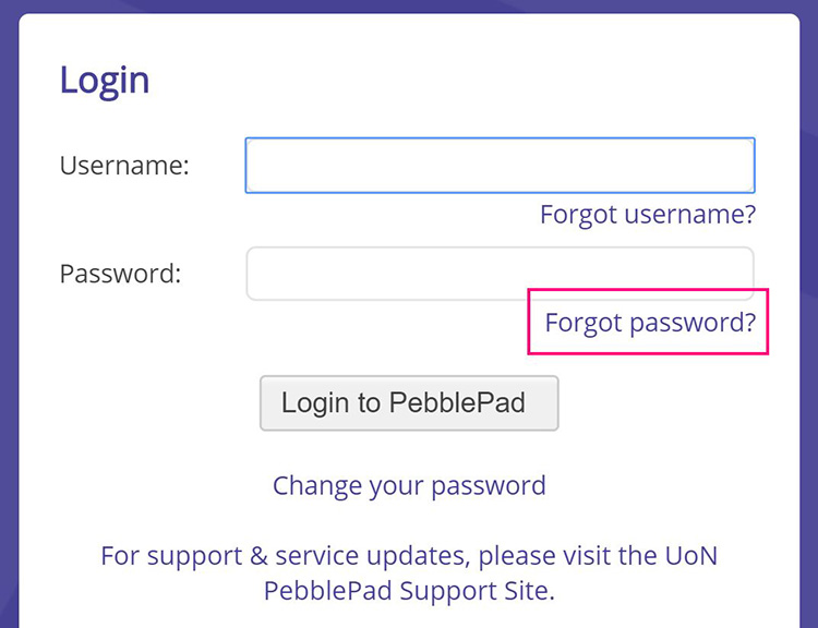 log in screen for pebblepad showing forgot password under password text box.