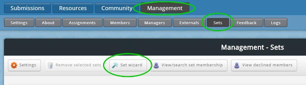 set wizard button