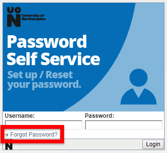 User Portal > Forgot Password