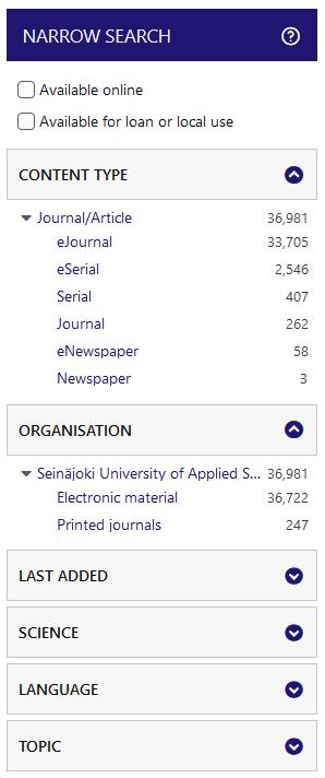 SeAMK-Finna Journals Narrow Search