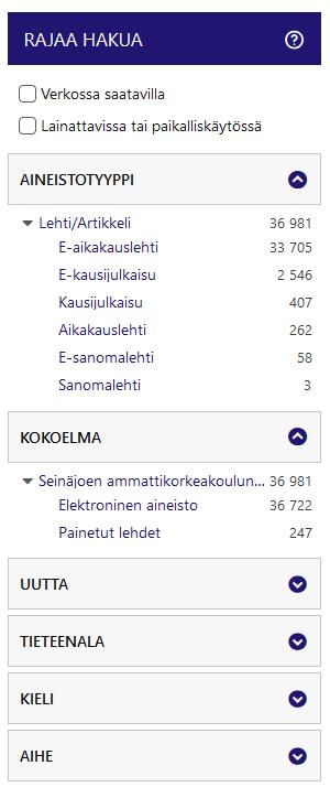 SeAMK-Finna Lehdet Rajaa hakua