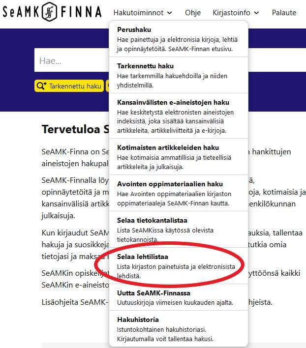 SeAMK-Finna Selaa lehtilistaa