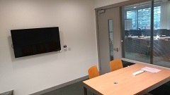 study room with screen