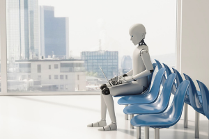 Image of a humanoid sitting on chair waiting to be seen