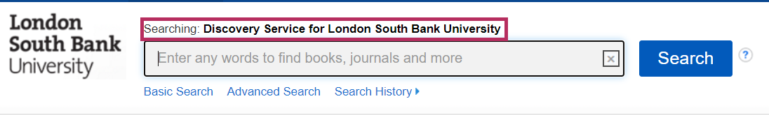Screenshot: Discovery Service search box