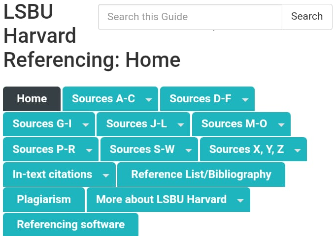 Link to Harvard Referencing Guide online