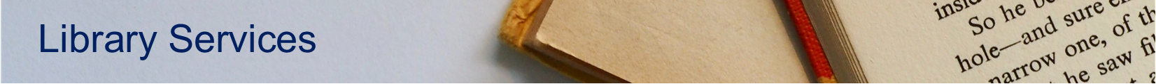 Banner that says Library Services. A corner of an open book is visible