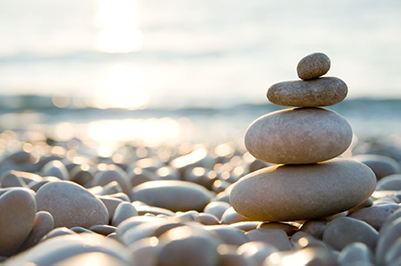 A pile of stones perfectly balanced on top of one another