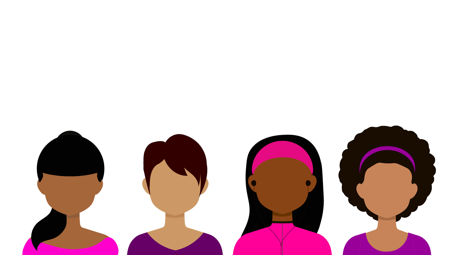 Illustration of four women of different ethnicity wearing pink and purple tops