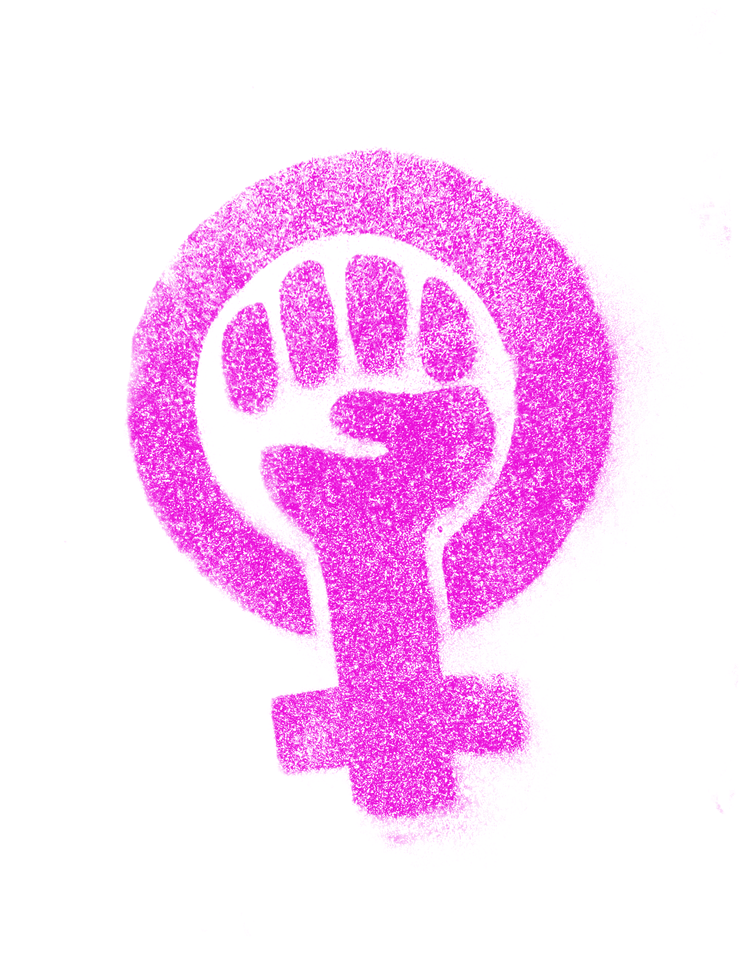 Illustration of a pink fist with the female gender sign as the wrist in a pink circle