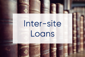 Picture of historic book spines with the text 'inter-site loans'.