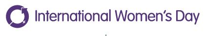 Purple circular arrow with purple text that reads International Women's Day