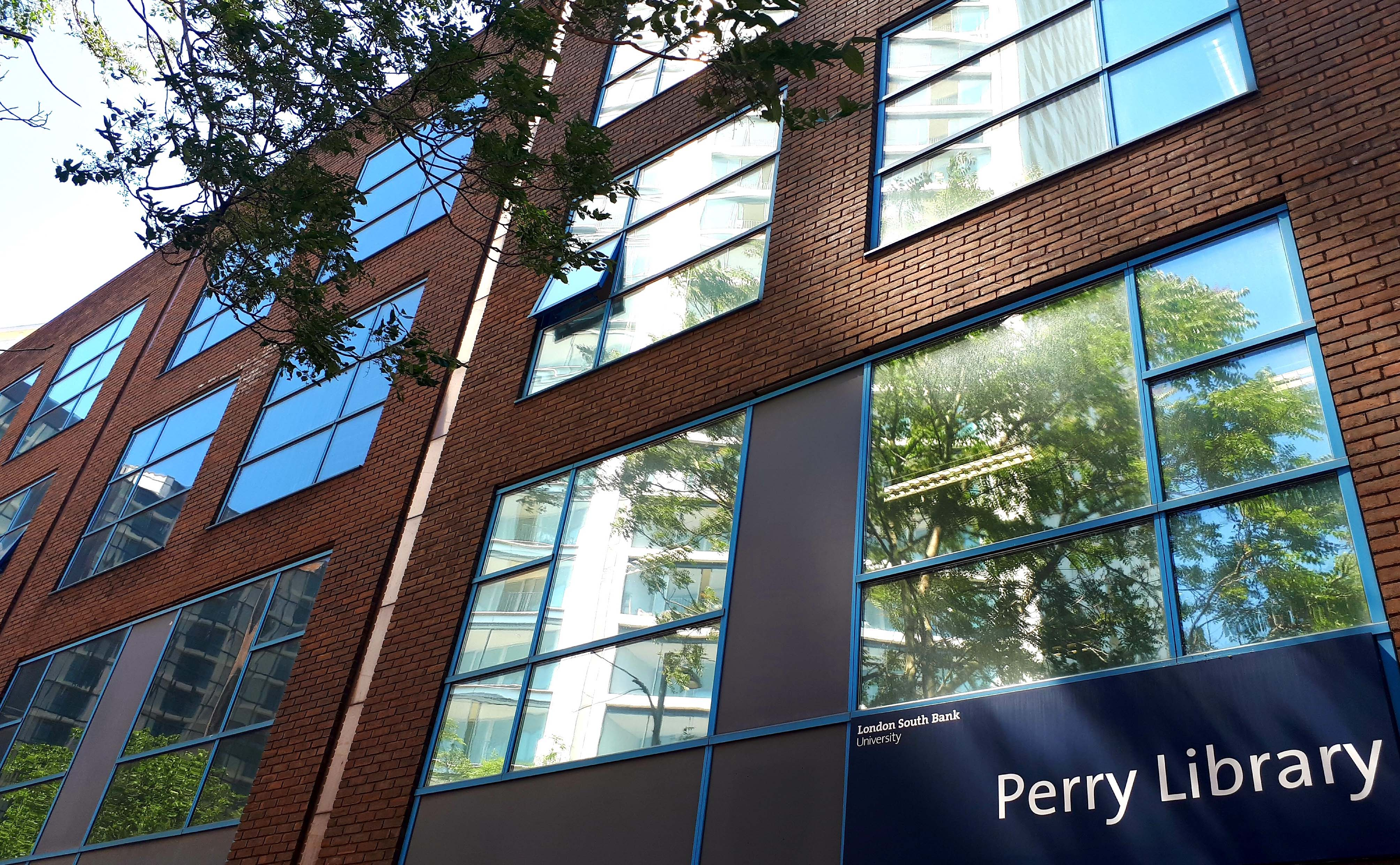 Perry Library building front entrance