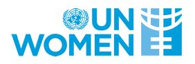 Blue Un sheild with UN WOMEN in blue text