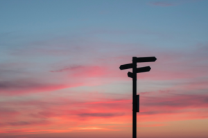 An image of signposts against a sunset sky. Click here to find out more about using other libraries as an LSBU student