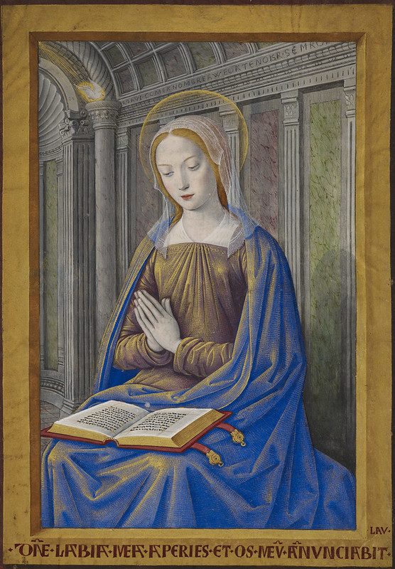 Hours of Henry VII - caption: 'The Virgin Mary receiving the Annunciation. A book with gold clasps lies open on her lap