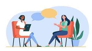 Vector illustration of two female figures sitting together in conversation