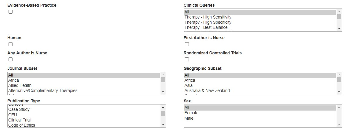 Screenshot of search filters on the CINAHL Advanced Search screen, including Evidence Based Practice, Randomized Control Trials and Publication Types