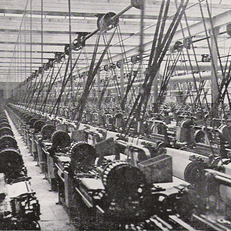 Black and white image of cotton mill machinery