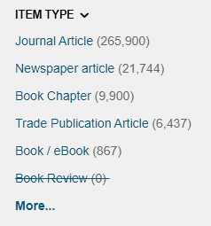 Item Type options on Discover@Bolton, including Journal Article, Newspaper Article and Book/Ebook