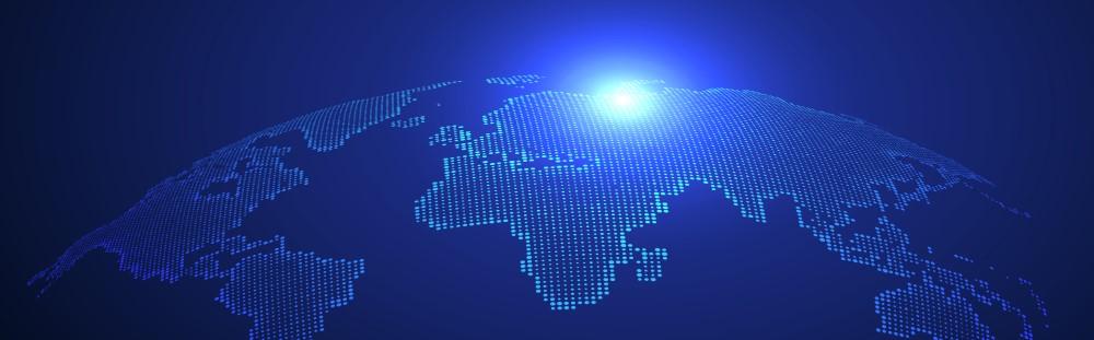 Bright blue digital art of the globe