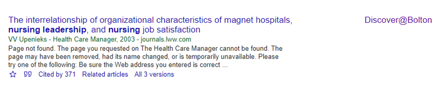 Article result from Google Scholar, with the Discover@Bolton link shown on the right