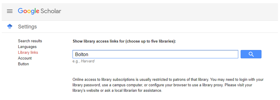 Screenshot of the Library Links page in Google Scholar