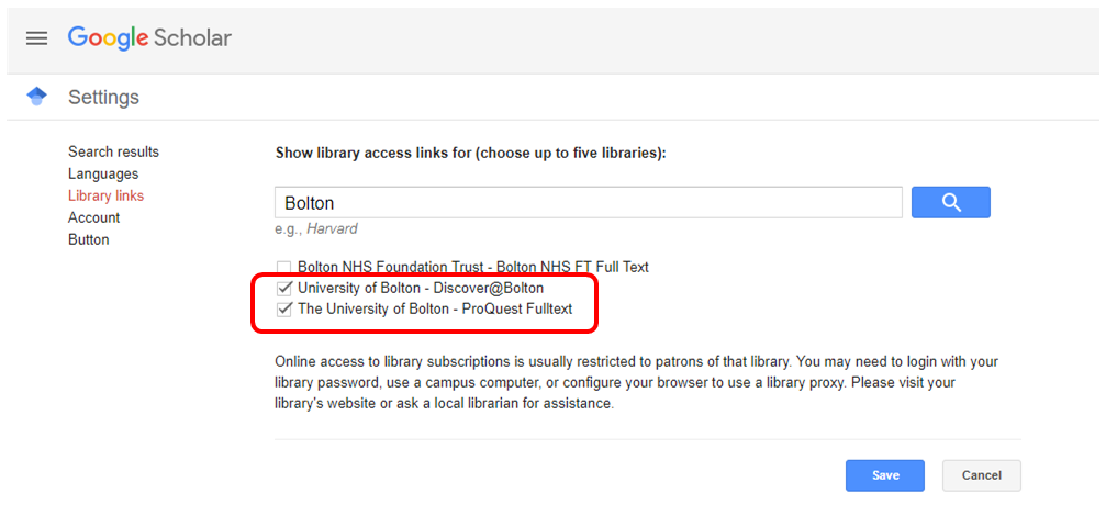 Library Links page in Google Scholar, with results for Bolton shown