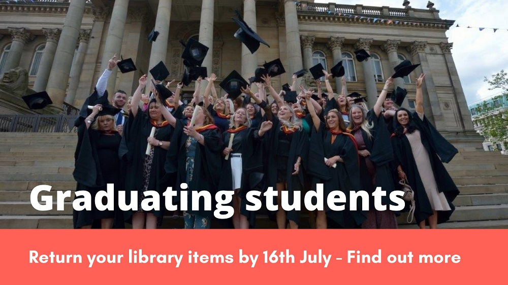 Graduating UoB students throwing their hats in the air outside Bolton Town Hall