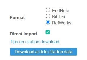 Options for exporting records from ICE Virtual Library, including RefWorks, EndNote and BibTex