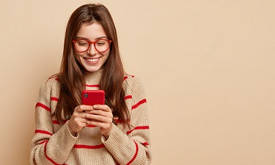Female student using a phone