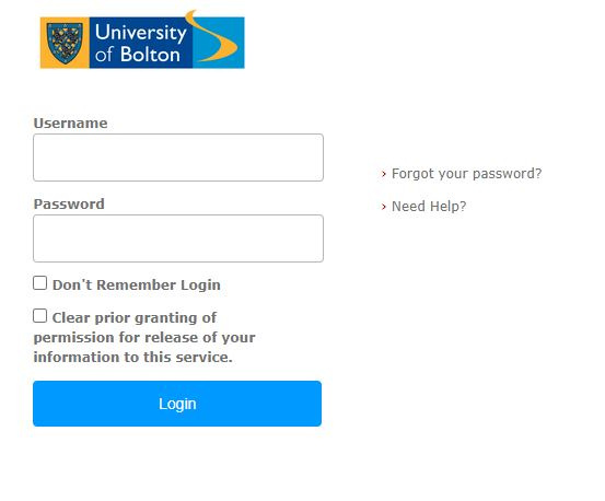 The standard University of Bolton login screen, featuring a box to enter your username and your password