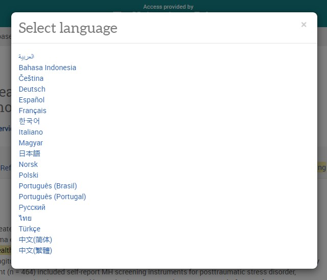 A menu showing the language options in the ProQuest platform