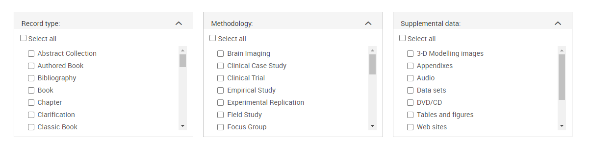 Screenshot of PsycInfo Advanced Search