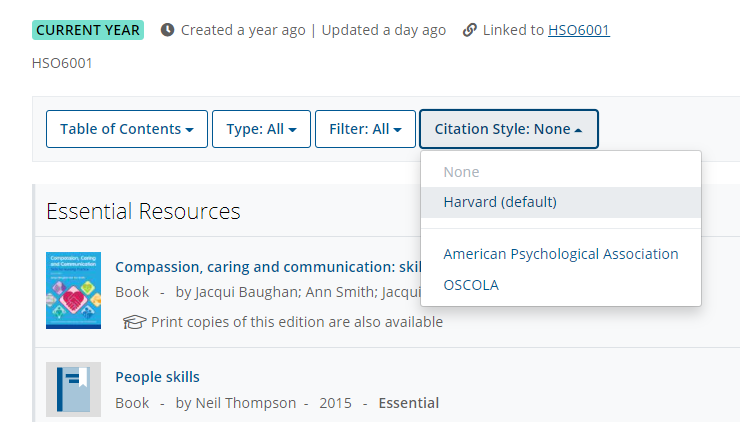 """The """"Citation Style"""" menu, showing options including Harvard style and APA"""