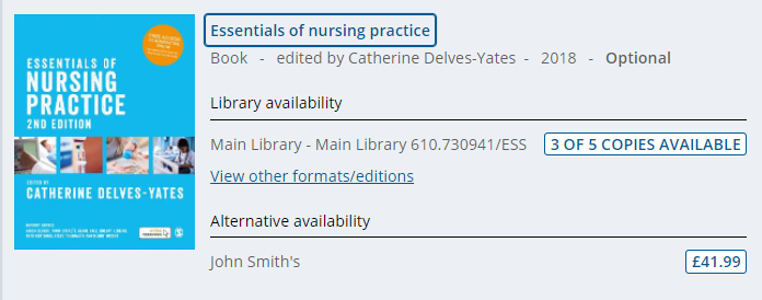 Library availability showing in RLO, including the number of available copies and the classmark