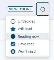 """The Reading Intentions menu on RLO, showing options including """"Will read"""", """"Reading Now"""" and """"Have Read"""""""