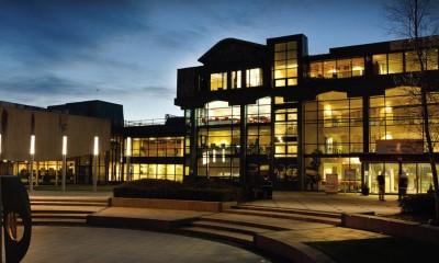 University of Bolton campus at night