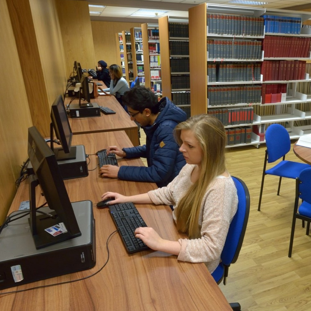 Students working in the Law Library at the Peter Marsh Library