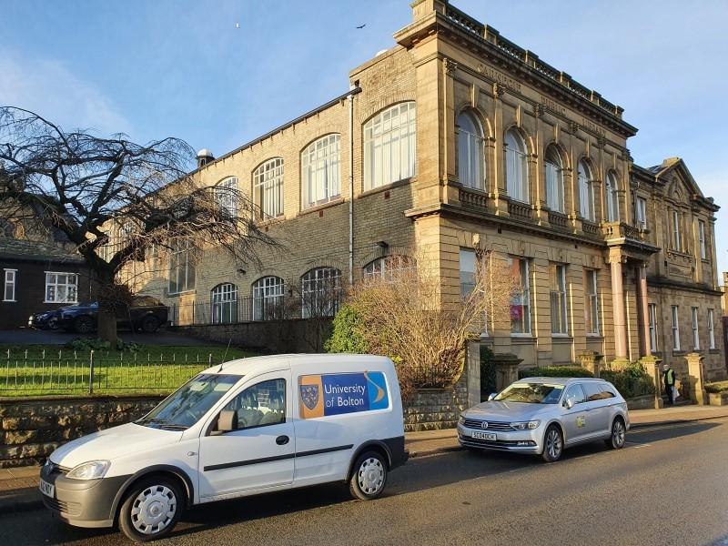 UoB van outside Accrington Library