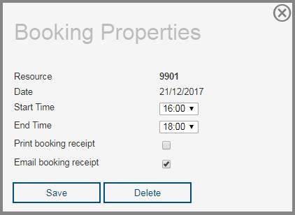 Booking properties popup