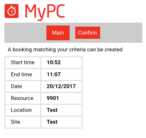 Mobile booking confirmation page