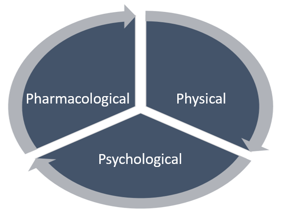 Cycle diagram showing the 3 'P's of pain management: Physical, Psychological, Pharmacological