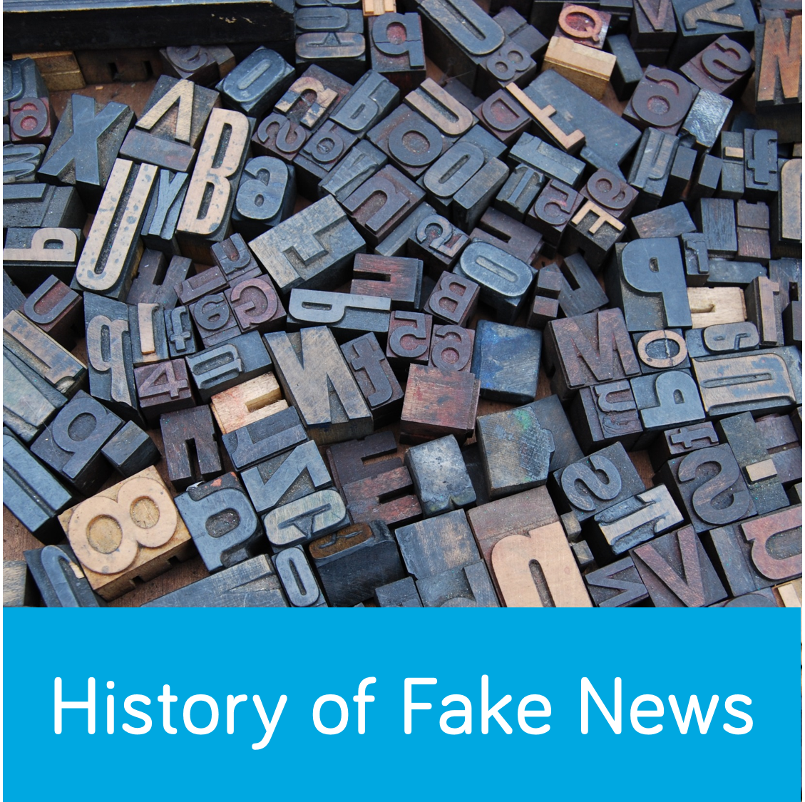 History of Fake News button. Features printing tiles