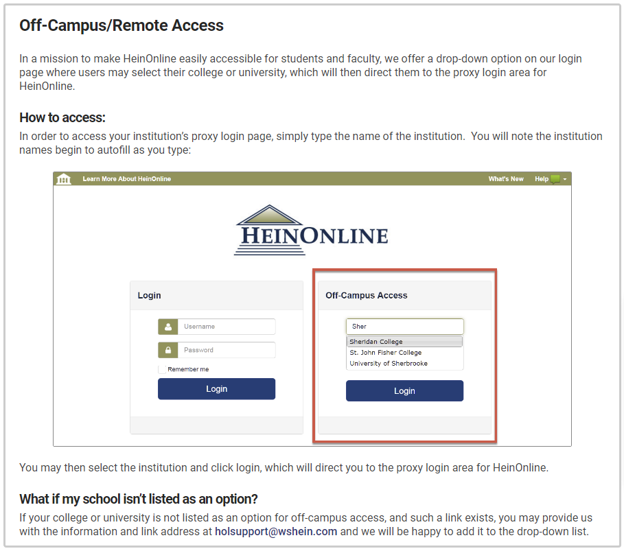 An image showing how to access HeinOnline off-campus.