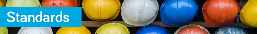Banner with image of different coloured hard hats and with title text reading Standards
